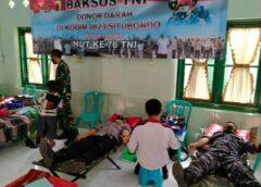 TNI WILAYAH SITUBONDO LAKSANAKAN BAKSOS DONOR DARAH DALAM RANGKA HUT TNI TNI KE 76 TA 2021.